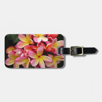 Pink and Yellow Tropical Plumeria Flowers Bag Tag