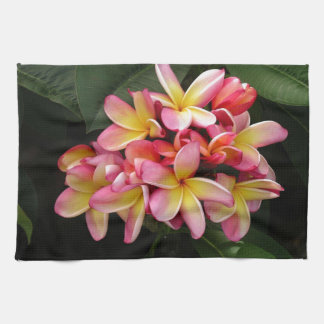 Pink and Yellow Tropical Plumeria Flowers Kitchen Towel