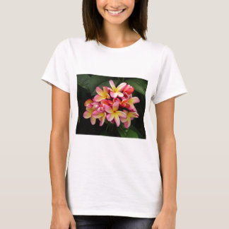 Pink and Yellow Tropical Plumeria Flowers T-Shirt