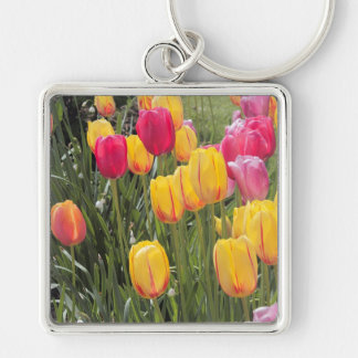 Pink and Yellow Tulip Flowers Keychain