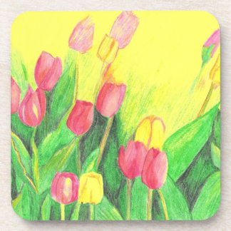 Pink and Yellow Tulips Coaster