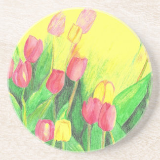Pink and Yellow Tulips Drink Coaster
