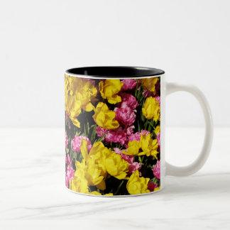 Pink and Yellow Tulips Two-Tone Coffee Mug