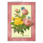 Pink and Yellow Vintage Roses Blank Art Card Greeting Card
