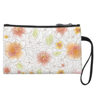 Pink and Yellow Water Color Floral Wristlet Bag
