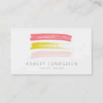 Pink and Yellow Watercolor Brush Strokes Modern Business Card