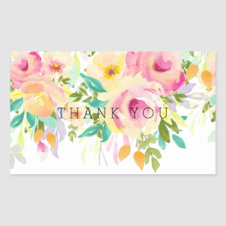 Pink and Yellow Watercolor Floral Thank You Rectangular Sticker