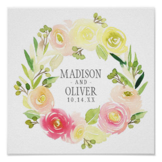 Pink and Yellow Watercolor Floral Wreath   Wedding Poster