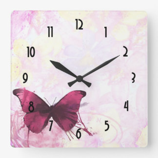 Pink and Yellow Watercolor Flowers with Butterfly Square Wall Clock