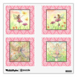 Pink and Yellow Whimsical Flower Fairies Room Stickers