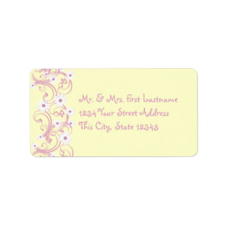 Pink and Yellow with Daisies Address Label