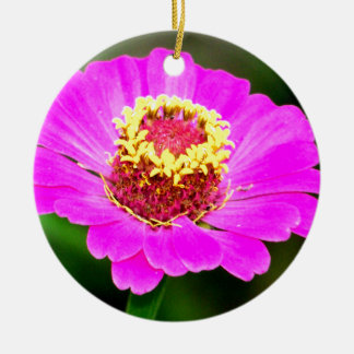 Pink and Yellow Zinnia Flower Ceramic Ornament