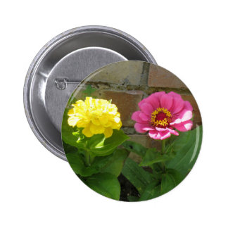 Pink and Yellow Zinnias Button