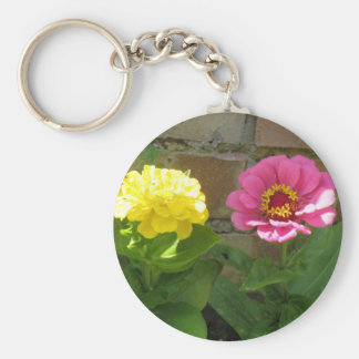 Pink and Yellow Zinnias Keychain