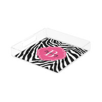 Pink and Zebra Print Custom Monogram Acrylic Tray