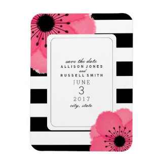 Pink Anemone Striped Save The Date Magnet