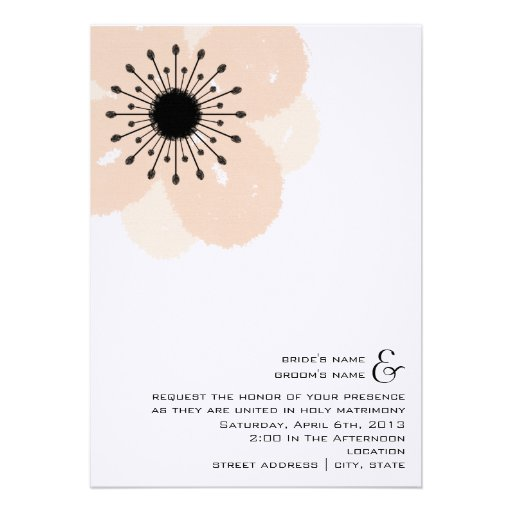 Pink Anemone Wedding Invite: From Bride & Groom