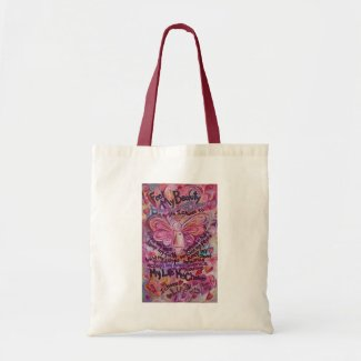Pink Angel Art Cancer Poem Tote Bag