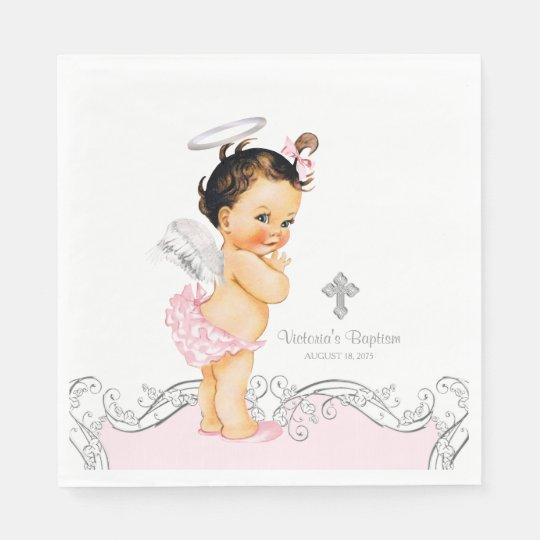 Pink Angel Baby Girl Baptism Christening Paper Napkin