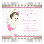 """Pink Angel Baby Girl Shower 5.25"""" Square Invitation Card"""