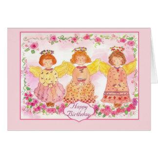Pink Angel Birthday Card Rose Flowers