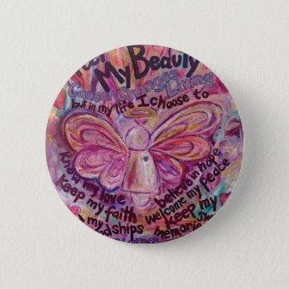 Pink Angel Cancer Poem Art Custom button Pins