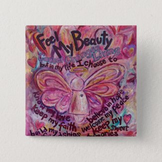 Pink Angel Cancer Poem Art Custom Pin Button