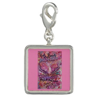 Pink Angel Cancer Poem Art Pendant Jewelry Charm