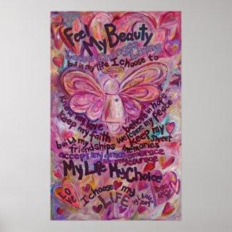Pink Angel Cancer Poem Art Print Poster