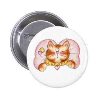 Pink Angel Cat Pinback Button