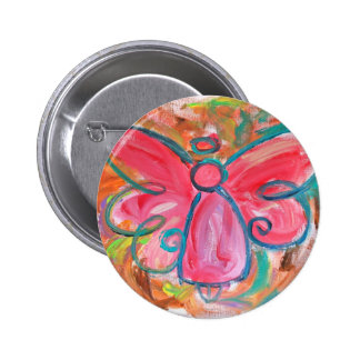 pink angel for fall leaves 2 inch round button