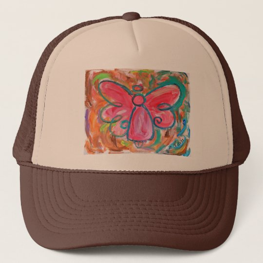 pink angel for fall leaves trucker hat