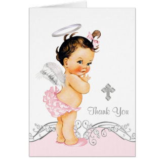 Pink Angel Girl Baptism Christening Thank You Card
