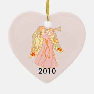 Pink Angel Heart Baby's 1st Christmas Christmas Tree Ornament