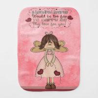 Pink Angel Hearts Country Primitive Prims Burp Cloth