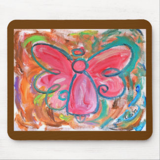Pink Angel in Autumn Leaves Mousepad