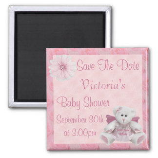 Pink Angel Teddy Bear Save the Date Baby Shower 2 Inch Square Magnet