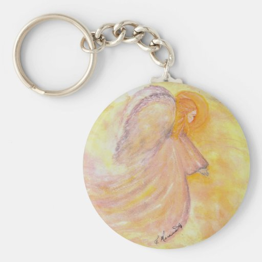 Pink Angel Watercolor Basic Round Button Keychain