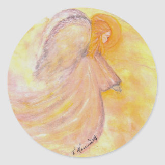 Pink Angel Watercolor Classic Round Sticker