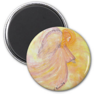 Pink Angel Watercolor Painting 2 Inch Round Magnet