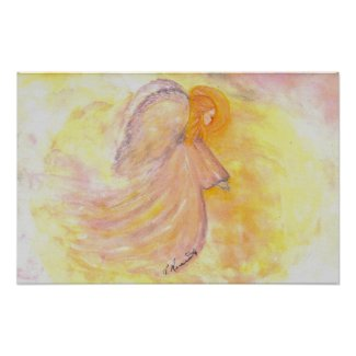 Pink Angel Watercolor Poster