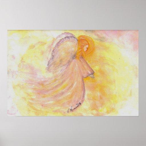 Pink Angel Watercolor Poster