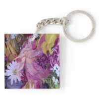 Pink Angel with Child and Flowers Acrylic Keychains