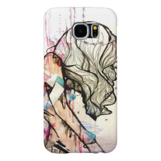 Pink angelic watercolor girl with white hair samsung galaxy s6 case