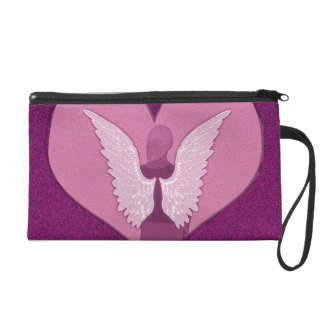 Pink Angels with Heart Wristlet