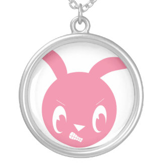 Pink Angry Bunny Round Pendant Necklace