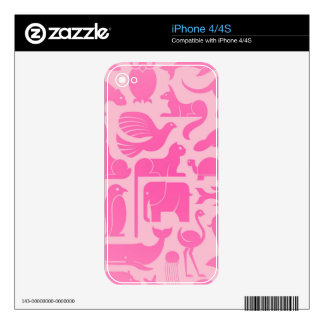 Pink Animal Kingdom Pattern Skin For iPhone 4S