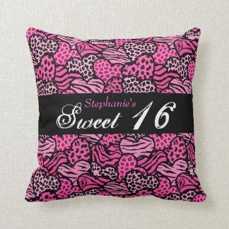Pink animal pattern hearts Sweet Sixteen Pillow