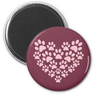 Pink animal paw prints heart design magnet