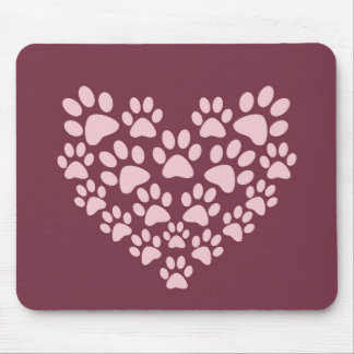 Pink animal paw prints heart design mouse pad